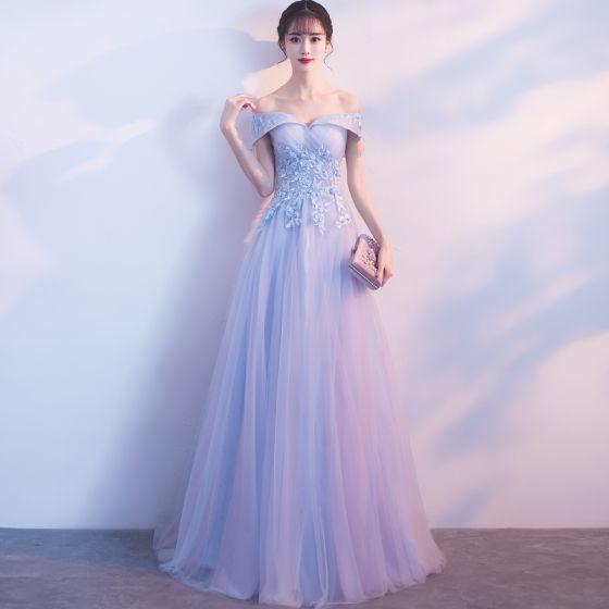 Chic / Beautiful Sky Blue Bridesmaid Dresses 2018 A-Line / Princess ...