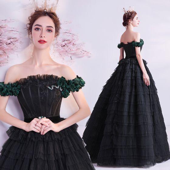 Elegante Negro Volantes En Cascada Vestidos de gala 2020 Ball Gown Ruffle Fuera Del Hombro Rhinestone Con Encaje Flor Sin Mangas Sin Espalda Largos Vestidos Formales