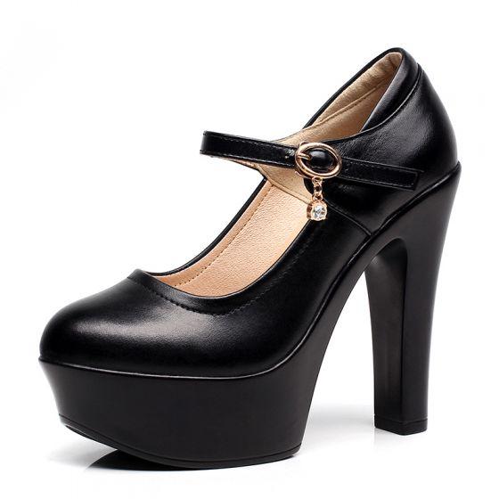 Moda Negro 2017 High Heels Cuero Hebilla Rhinestone Plataforma Punta Estrecha 13 cm Noche Zapatos De Mujer
