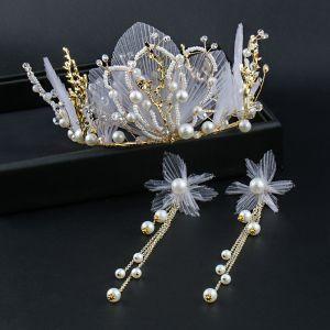 Eleganckie Złote Tiara Kolczyki Biżuteria Ślubna 2020 Metal Perła Kwiat Jedwabiu Ślub Akcesoria