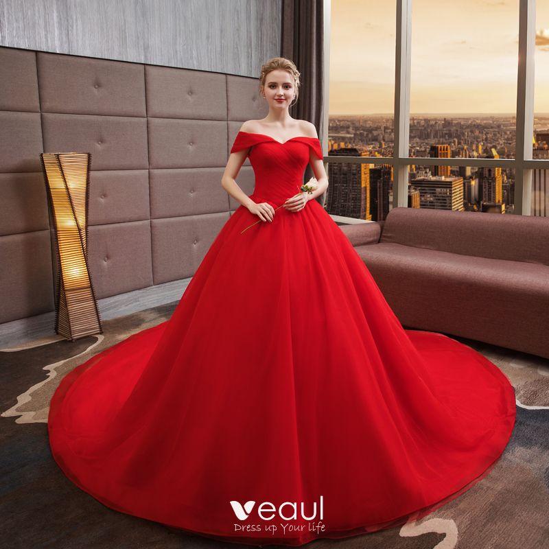 Simple Couleur Unie Rouge Robe De Mariée