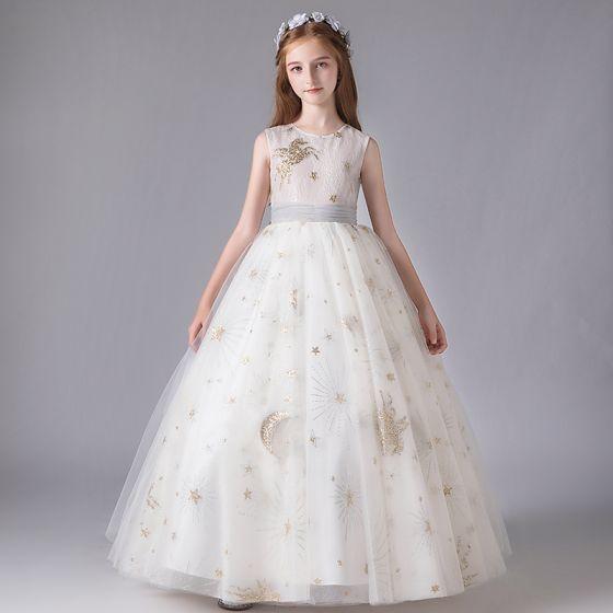 Chic / Beautiful White Flower Girl Dresses 2020 Ball Gown Scoop Neck Sleeveless Sash Sequins Glitter Tulle Floor-Length / Long Ruffle