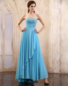 Sleeveless Chiffon- Rüsche-schatz-langes Abendkleider