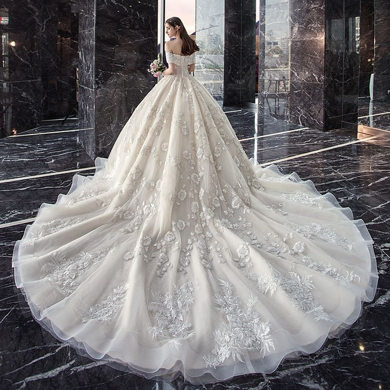 Classy Ivory Wedding Dresses 2019 Ball Gown Off-The-Shoulder Beading Sequins Lace Flower Short Sleeve Backless Cathedral Train