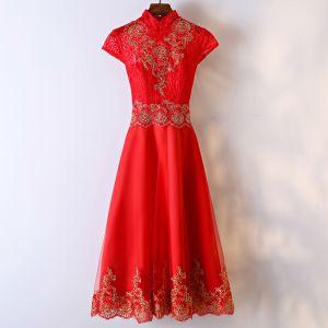 Schöne Rot Festliche Kleider Abendkleider 2017 Mit Spitze Blumen Reißverschluss Knöchellänge Stehkragen Kurze Ärmel A Linie