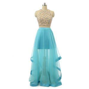 Sparkly 2 Piece Pool Blue Prom Dresses 2017 A-Line / Princess Scoop Neck Sleeveless Beading Pearl Sequins Ruffle Satin Pool Blue Chiffon Floor-Length / Long Formal Dresses