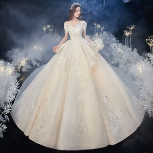 Chic / Beautiful Champagne Bridal Wedding Dresses 2020 Ball Gown Off-The-Shoulder Short Sleeve Backless Glitter Tulle Appliques Lace Beading Cathedral Train