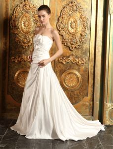 2015 A-line Sweetheart With Bow Floor-length Satin Wedding Dress