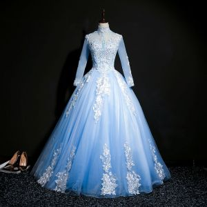 Classic Sky Blue See-through Prom Dresses 2018 Ball Gown High Neck Long Sleeve Appliques Lace Pearl Beading Sequins Floor-Length / Long Ruffle Backless Formal Dresses