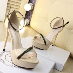 Chic / Beautiful Beige High Heels Sandals 2019 Summer Beach Cocktail Party Evening Party Strappy X-Strap 12 cm Stiletto Heels Womens Shoes