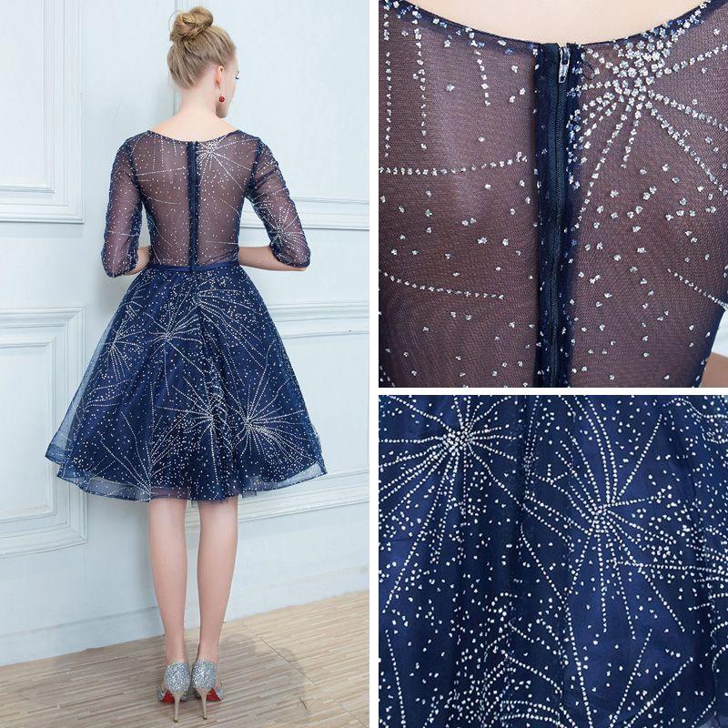 Chic / Belle Bleu Marine Transparentes Robe De Cocktail 2019 Princesse Encolure Carrée 1/2 Manches Glitter Tulle Noeud Ceinture Courte Volants Robe De Ceremonie