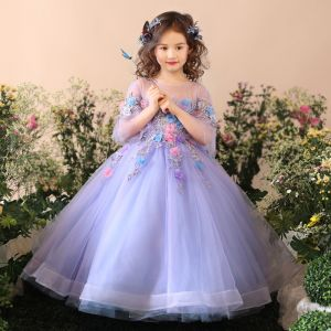 Chic / Beautiful Church Wedding Party Dresses 2017 Flower Girl Dresses Lavender Sky Blue Ball Gown Floor-Length / Long Scoop Neck Backless 3/4 Sleeve Flower Appliques Sequins Beading