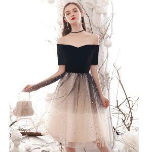 Mode Farbverlauf Schwarz Abendkleider 2020 A Linie Eckiger Ausschnitt Star Pailletten 1/2 Ärmel Rückenfreies Knielang Festliche Kleider