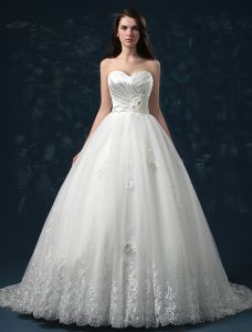 2015 Sweetheart Appliques Lace & Flowers Organza Ball Gown Wedding Dress