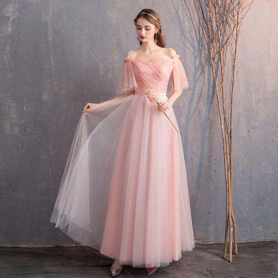 e7aa6605e2f Remise Perle Rose Robe Demoiselle D honneur 2019 Princesse De l épaule 1 2  Manches Glitter Tulle Ceinture Longue ...