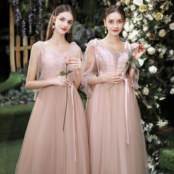 Affordable Pearl Pink Bridesmaid Dresses 2020 A-Line / Princess Backless Appliques Lace Sash Tea-length Ruffle