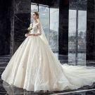 Elegant Ivory Wedding Dresses 2019 A-Line / Princess Scoop Neck Beading Sequins Lace Flower 3/4 Sleeve Backless Royal Train