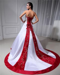 Ball Gown Sweetheart Court Train Satin Wedding Dress With Embroidered Beading Sequins