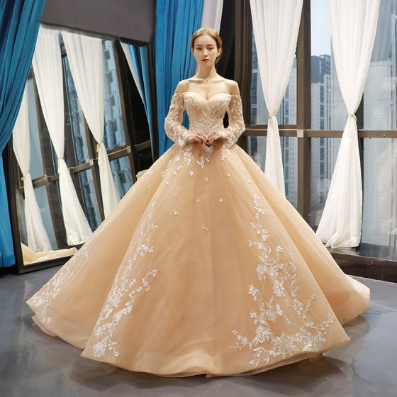 Wysokiej Klasy Szampan ślubna Suknie Ślubne 2020 Suknia Balowa Przy Ramieniu Długie Rękawy Bez Pleców Kwiat Aplikacje Z Koronki Trenem Sąd Wzburzyć