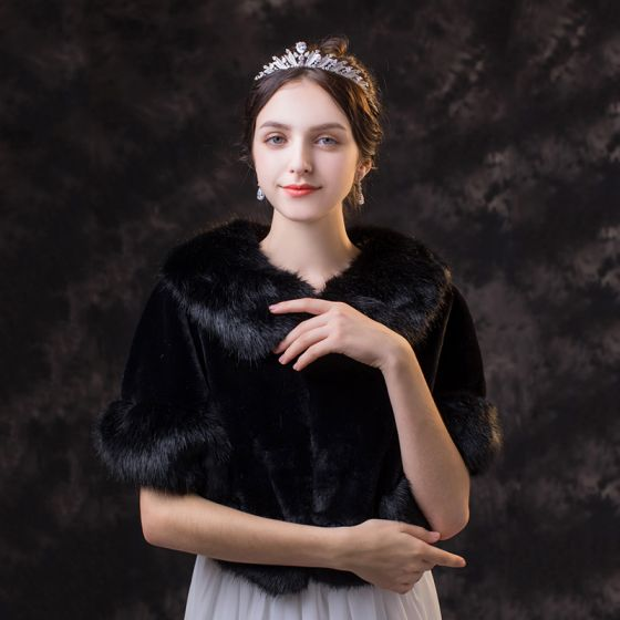 Classic Elegant Black shawl 2020 Suede Polyester Shawls High Neck Shoulders Bridal Evening Party Prom Winter Accessories