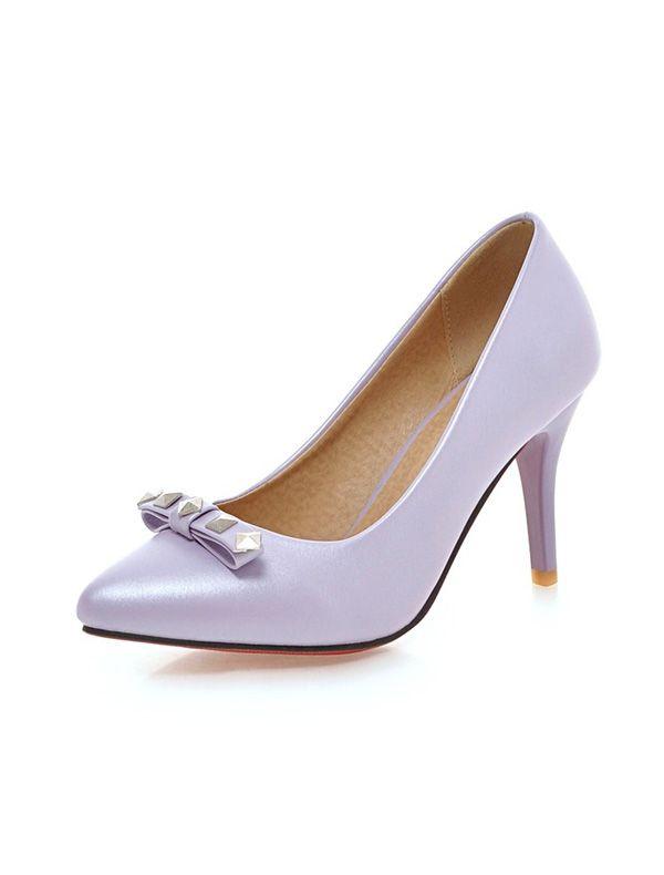 Escarpins Cuir Verni De Mode 8 Cm Talon Aiguille Chaussures Femmes Talon Haut Avec Rivets Noeud