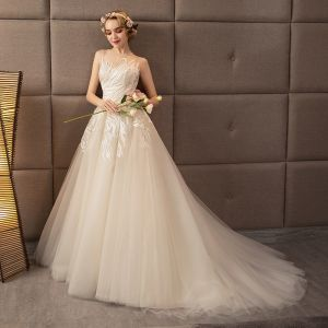 Discount Champagne See-through Wedding Dresses 2018 A-Line / Princess Scoop Neck Sleeveless Backless Appliques Lace Ruffle Chapel Train