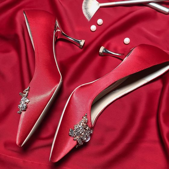 Chic / Beautiful Red Rhinestone Wedding Shoes 2020 Leather 7 cm Stiletto Heels Pointed Toe Wedding Pumps