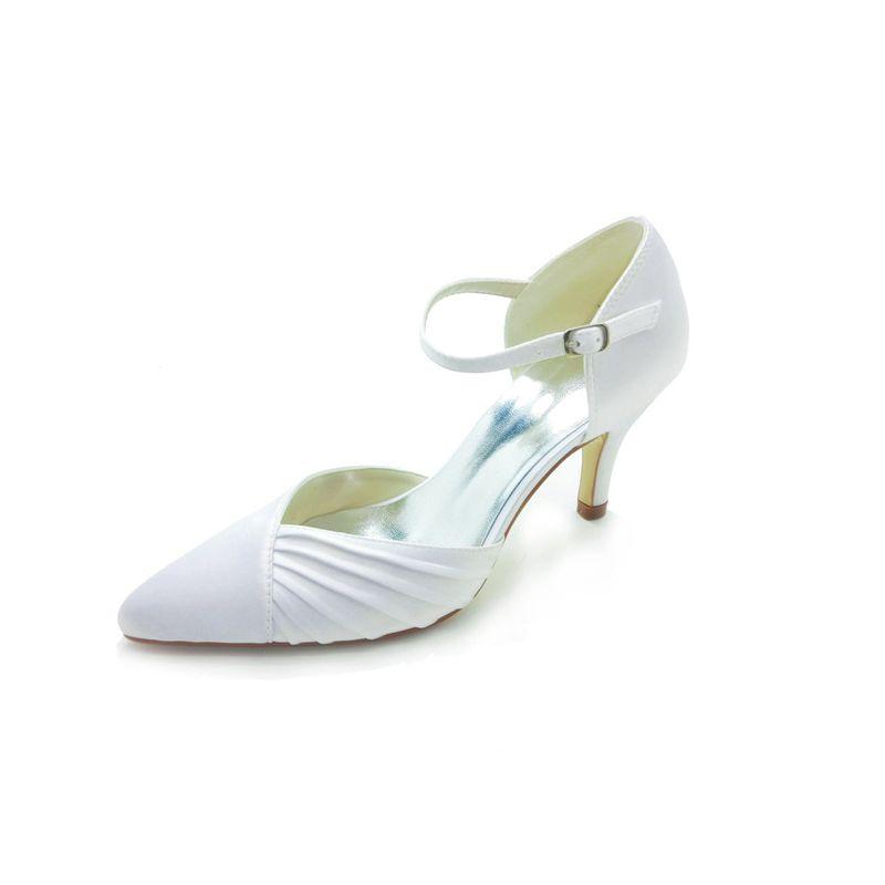 Elegant Pointed Toe Mid Heels White