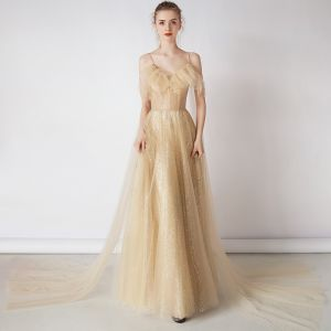 Bling Bling Champagne Gold Evening Dresses  2019 A-Line / Princess Spaghetti Straps Short Sleeve Glitter Tulle Detachable Watteau Train Ruffle Backless Formal Dresses