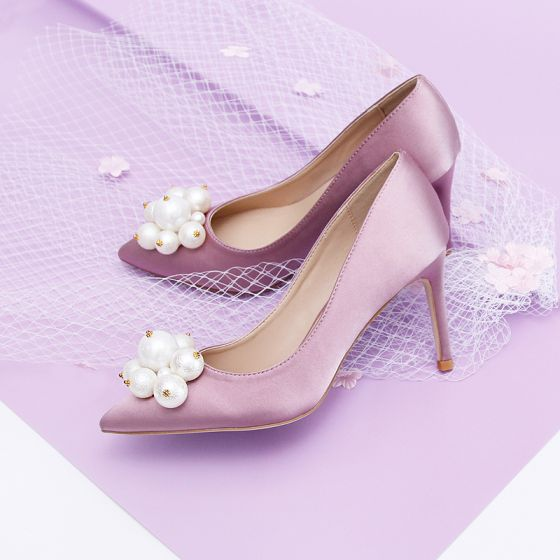 Lovely Lavender Bridesmaid Pumps 2020 Satin Pearl 9 cm Stiletto Heels Pointed Toe Pumps
