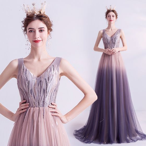 Chic / Beautiful Pearl Pink Gradient-Color Purple Evening Dresses  2020 A-Line / Princess V-Neck Sleeveless Appliques Lace Beading Sweep Train Ruffle Backless Formal Dresses