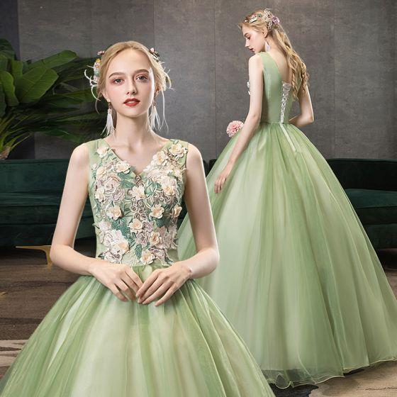 Elegant Lime Green Prom Dresses 2020 A-Line / Princess V-Neck Pearl Lace Flower Sleeveless Backless Floor-Length / Long Formal Dresses