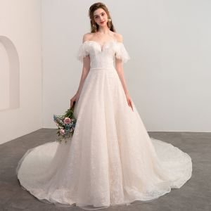 Bling Bling Champagne Wedding Dresses 2018 A-Line / Princess Off-The-Shoulder Short Sleeve Backless Glitter Lace Cathedral Train