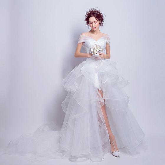 Piękne Białe Organza Lato Plaża Suknie Ślubne 2018 Suknia Balowa Przy Ramieniu Kótkie Rękawy Bez Pleców Asymetryczny Trenem Kaplica Wzburzyć