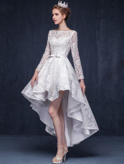 Underbara A-line Fyrkantig Ringning Rufsa Asymmetrisk Kort Spets Bröllopsklänning