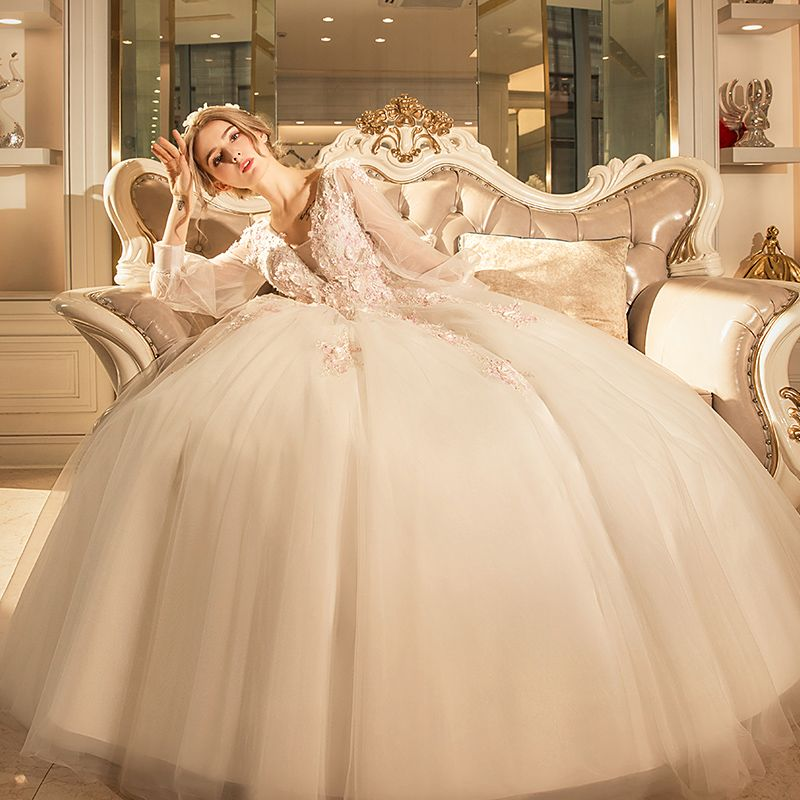 Chic / Beautiful Church Outdoor / Garden Wedding Dresses 2017 Lace Flower Pearl Backless Artificial Flowers V-Neck 3/4 Sleeve Ivory Ball Gown Floor-Length / Long