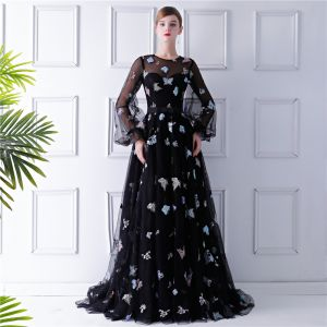 Romantic Black See-through Evening Dresses  2019 A-Line / Princess Scoop Neck Puffy Long Sleeve Appliques Sequins Embroidered Sweep Train Ruffle Formal Dresses