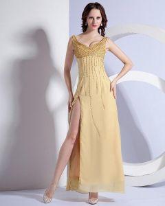 Schön Spaghettiträgern Sweetheart Seite Entlüftungsbodenlangen Abendkleid Ns-180