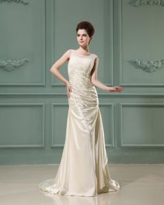 Jewel Sleeveless Zipper Ruffle Floor Length Lace Sheath Wedding Dress