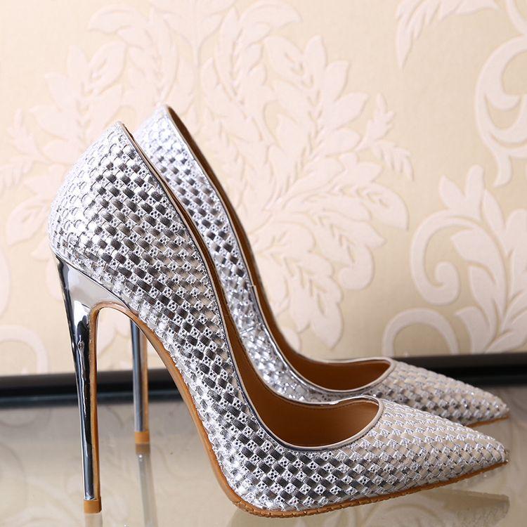 Elegant 2017 10 cm / 4 inch Black Silver Office Leather Silver Summer High Heels Stiletto Heels Pumps