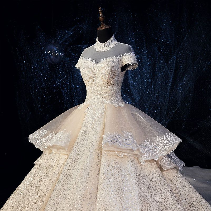 Sparkly Champagne See-through Wedding Dresses 2019 Ball Gown High Neck Short Sleeve Backless Appliques Lace Beading Glitter Sequins Tulle Royal Train Ruffle