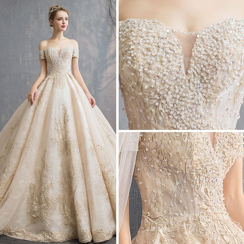 Luxury / Gorgeous Champagne Wedding Dresses 2019 A-Line / Princess Off-The-Shoulder Short Sleeve Backless Appliques Lace Beading Pearl Sequins Cathedral Train Ruffle