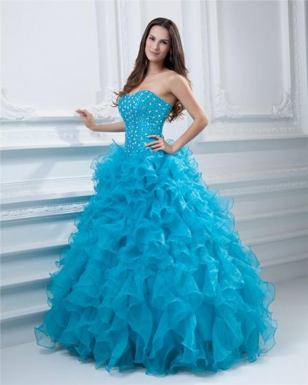 Ball Gown Sweetheart Beading Hemming Floor Length Organza Quinceanera Prom Dress
