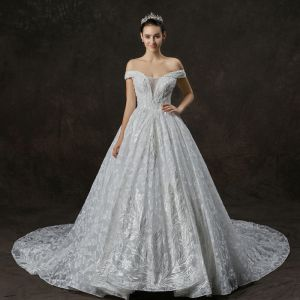 Luxury / Gorgeous Ivory Wedding Dresses 2019 A-Line / Princess Off-The-Shoulder Short Sleeve Backless Appliques Lace Sequins Beading Cathedral Train Ruffle