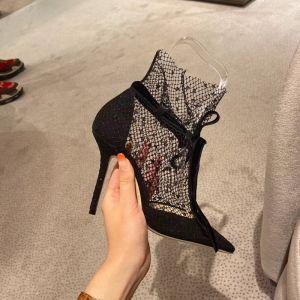 Sexet Sorte Streetwear Med Blonder Sandaler Dame 2020 Sløjfe Ankel Strop 9 cm Stiletter Spidse Tå Pumps
