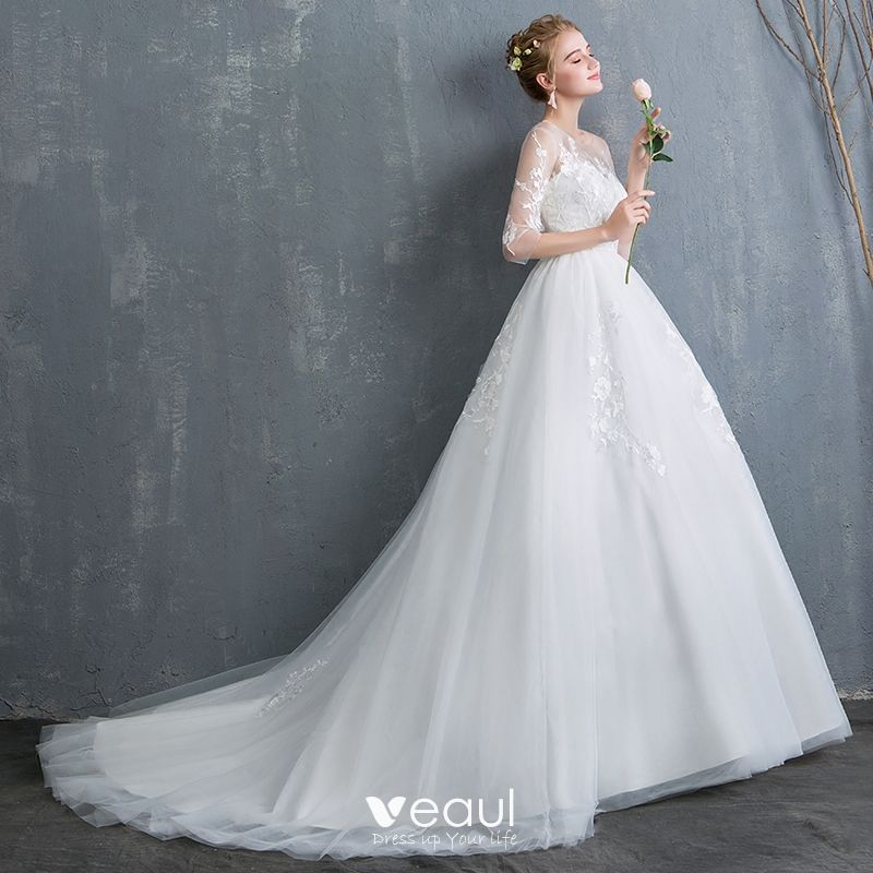 Chic / Beautiful Ivory Wedding Dresses 2019 A-Line / Princess See-through Scoop Neck Lace Flower 1/2 Sleeves Backless Chapel Train