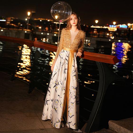Eleganta Guld Aftonklänningar 2019 Prinsessa Tassel Urringning Beading Paljetter Långärmad Slits Fram Utskrift Långa Formella Klänningar