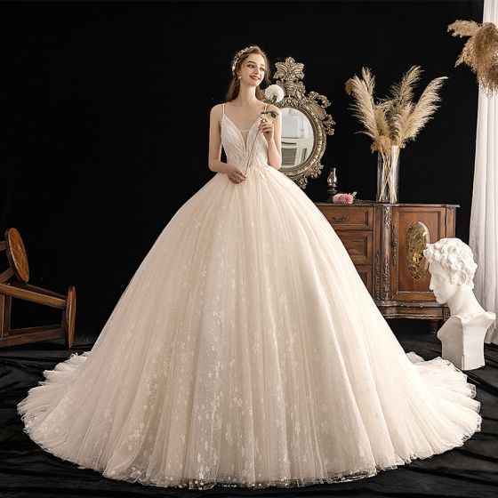 Luxury / Gorgeous Champagne Wedding Dresses 2019 Ball Gown Deep V-Neck Spaghetti Straps Sleeveless Backless Beading Glitter Appliques Lace Cathedral Train Ruffle