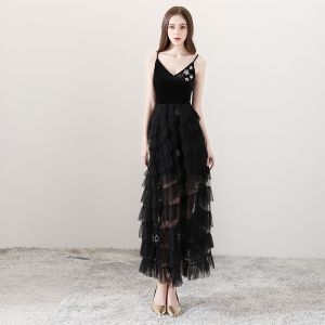 Sexy Black Summer Evening Dresses  2018 A-Line / Princess Spaghetti Straps Sleeveless Rhinestone Sequins Star Ankle Length Ruffle Backless Formal Dresses
