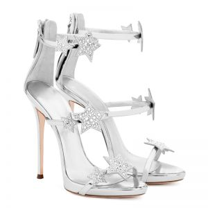 Modern / Fashion Silver 10 cm 2018 High Heels Star Zipper Ankle Strap Beading Rhinestone Sandals Open / Peep Toe Stiletto Heels Evening Party Hall Womens Shoes